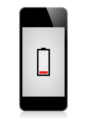 Smartphone mit niedrigem Akkustand